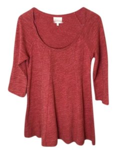 Anthropologie Topstitch Detailing Fit + Flare Super Flattering Comfy Cotton Dress Up Or Down T Shirt Orange