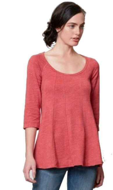 Anthropologie Topstitch Detailing Fit + Flare Super Flattering Comfy Cotton Dress Up Or Down T Shirt Orange Image 3