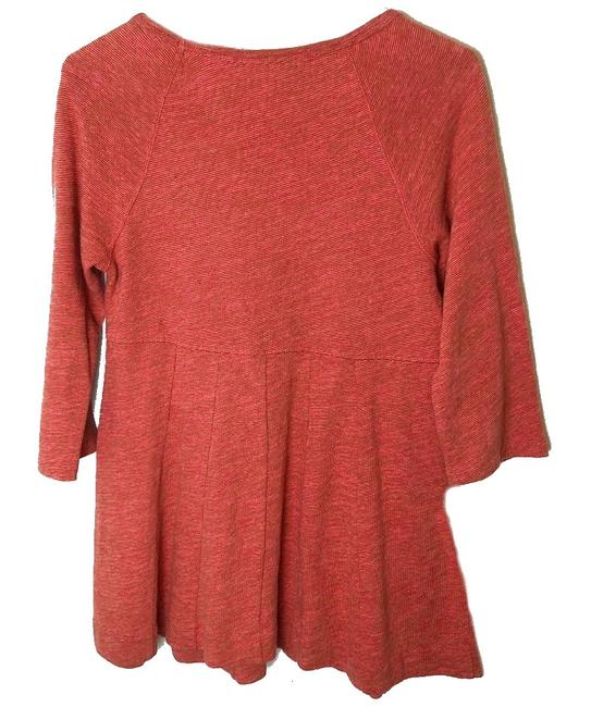 Anthropologie Topstitch Detailing Fit + Flare Super Flattering Comfy Cotton Dress Up Or Down T Shirt Orange Image 4