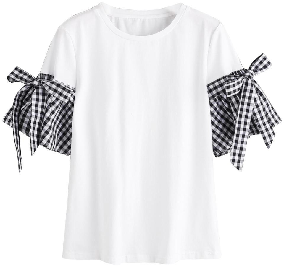 9771bd2df2 SheIn Black and White Gingham Bell Sleeve Tee Shirt Size 8 (M) - Tradesy