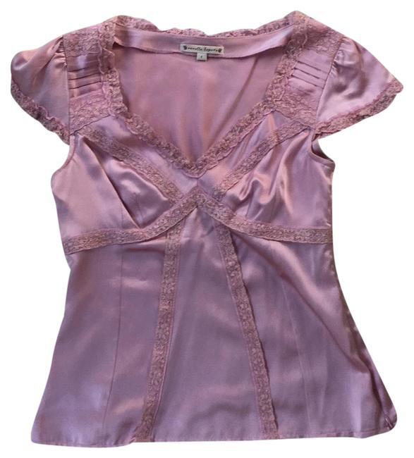Preload https://img-static.tradesy.com/item/24296342/nanette-lepore-pink-satin-silk-with-lace-blouse-size-4-s-0-3-650-650.jpg