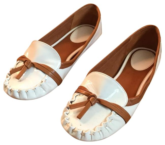 Item - White with Tan Detail Patent Libby Flats Size US 6 Regular (M, B)