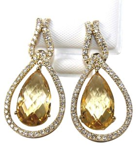 Other Pear Shape Citrine & Diamond Drop Dangle Earrings 14K YG 7.96Ct