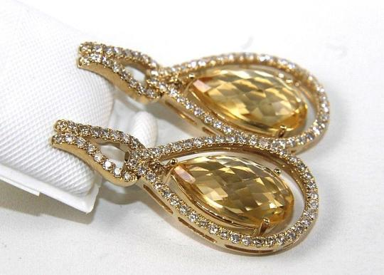 Other Pear Shape Citrine & Diamond Drop Dangle Earrings 14K YG 7.96Ct Image 1