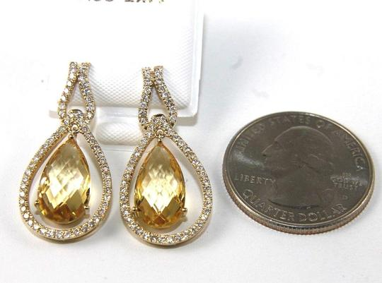 Other Pear Shape Citrine & Diamond Drop Dangle Earrings 14K YG 7.96Ct Image 2