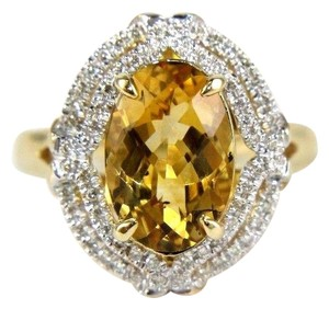 Other Oval Orange Citrine & Diamond Solitaire Ring 14k Yellow Gold .87Ct