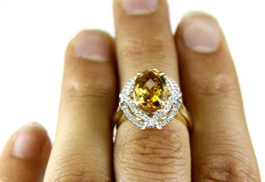 Other Oval Orange Citrine & Diamond Solitaire Ring 14k Yellow Gold .87Ct Image 3