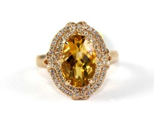 Other Oval Orange Citrine & Diamond Solitaire Ring 14k Rose Gold 3.54Ct