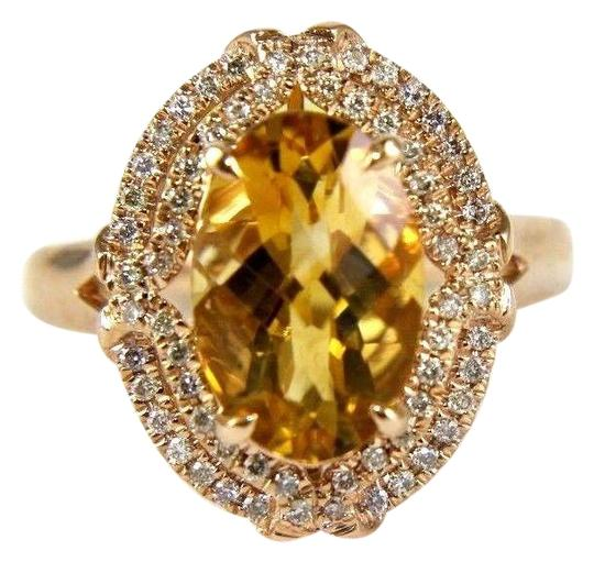 Other Oval Orange Citrine & Diamond Solitaire Ring 14k Rose Gold 3.54Ct Image 0