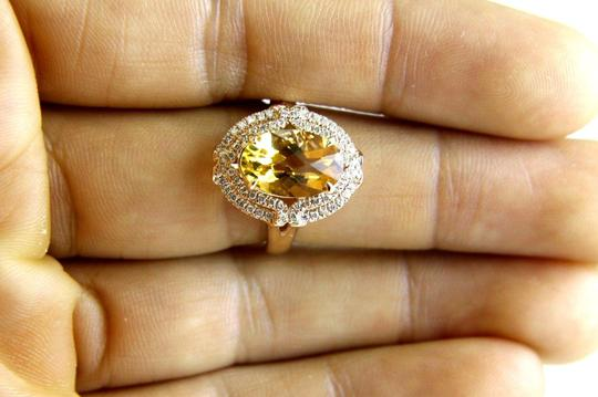 Other Oval Orange Citrine & Diamond Solitaire Ring 14k Rose Gold 3.54Ct Image 3