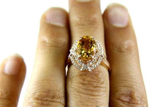 Other Oval Orange Citrine & Diamond Solitaire Ring 14k Rose Gold 3.54Ct Image 4