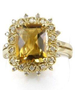 Other Huge Cushion Yellow Citrine Lady's Ring w/Diamond Halo 14k YG 3.28Ct