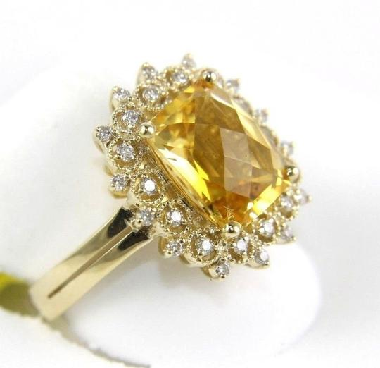 Other Huge Cushion Yellow Citrine Lady's Ring w/Diamond Halo 14k YG 3.28Ct Image 1