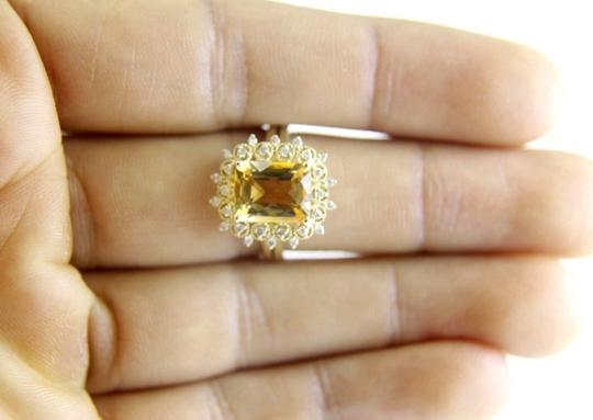 Other Huge Cushion Yellow Citrine Lady's Ring w/Diamond Halo 14k YG 3.28Ct Image 3