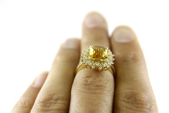 Other Huge Cushion Yellow Citrine Lady's Ring w/Diamond Halo 14k YG 3.28Ct Image 4