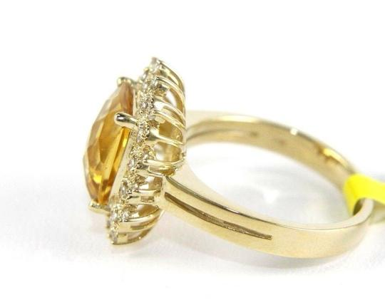 Other Huge Cushion Yellow Citrine Lady's Ring w/Diamond Halo 14k YG 3.28Ct Image 5