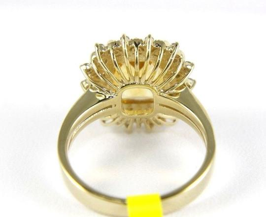 Other Huge Cushion Yellow Citrine Lady's Ring w/Diamond Halo 14k YG 3.28Ct Image 6