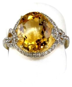 Other Oval Orange Citrine Solitaire Ring w/Diamond Halo 14k YG 4.58Ct