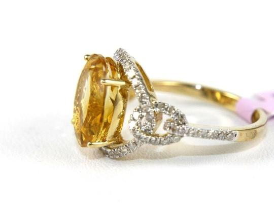 Other Oval Orange Citrine Solitaire Ring w/Diamond Halo 14k YG 4.58Ct Image 1