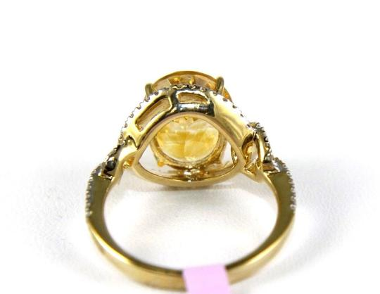Other Oval Orange Citrine Solitaire Ring w/Diamond Halo 14k YG 4.58Ct Image 2