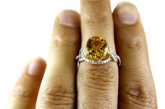 Other Oval Orange Citrine Solitaire Ring w/Diamond Halo 14k YG 4.58Ct Image 4