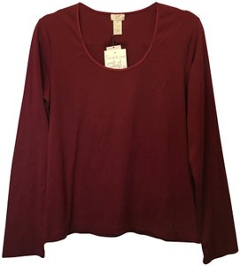 J. Jill Cotton Scoop Neck Long Sleeve New With Tags T Shirt Cranberry Red