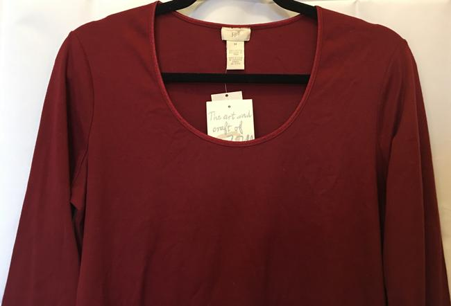 J. Jill Cotton Scoop Neck Long Sleeve New With Tags T Shirt Cranberry Red Image 1