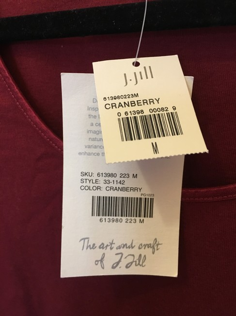 J. Jill Cotton Scoop Neck Long Sleeve New With Tags T Shirt Cranberry Red Image 3
