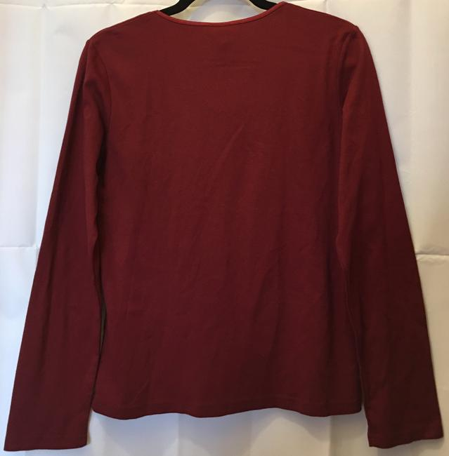 J. Jill Cotton Scoop Neck Long Sleeve New With Tags T Shirt Cranberry Red Image 4