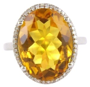 Other Oval Honey Yellow Citrine & Diamond Halo Ring 14K White Gold 7.64Ct