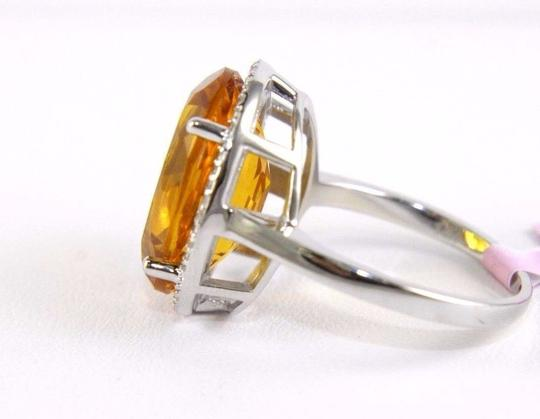Other Oval Honey Yellow Citrine & Diamond Halo Ring 14K White Gold 7.64Ct Image 1