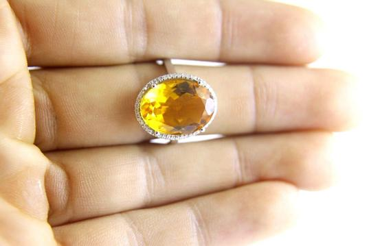 Other Oval Honey Yellow Citrine & Diamond Halo Ring 14K White Gold 7.64Ct Image 3