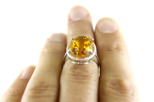 Other Oval Honey Yellow Citrine & Diamond Halo Ring 14K White Gold 7.64Ct Image 4