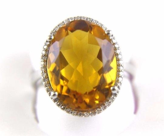 Other Oval Honey Yellow Citrine & Diamond Halo Ring 14K White Gold 7.64Ct Image 5