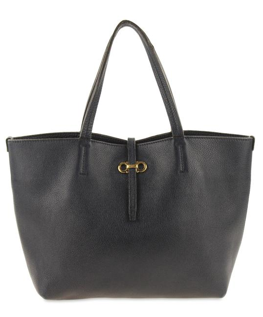 Item - Navy Small Double Gancio Blue Leather Tote