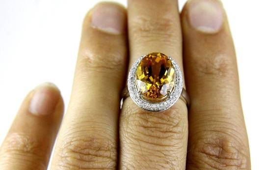 Other Oval Orange Citrine & Diamond Solitaire Ring 14k White Gold 6.63Ct Image 1