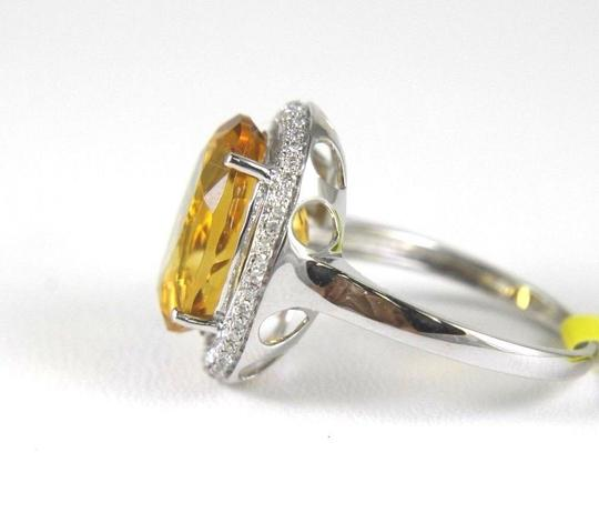 Other Oval Orange Citrine & Diamond Solitaire Ring 14k White Gold 6.63Ct Image 2
