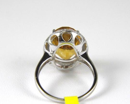 Other Oval Orange Citrine & Diamond Solitaire Ring 14k White Gold 6.63Ct Image 3