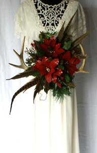 Antler and Poinsettia Woodland Silk Bouquet Ceremony Decoration