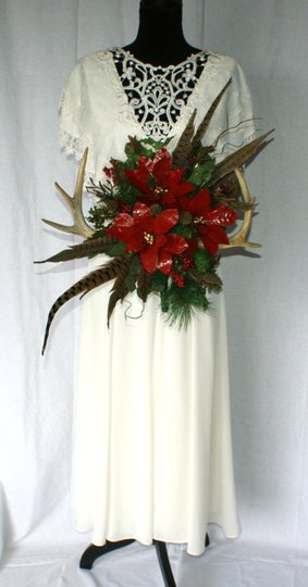 Antler and Poinsettia Woodland Silk Bouquet Ceremony Decoration Image 1
