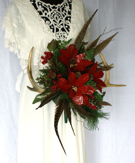 Antler and Poinsettia Woodland Silk Bouquet Ceremony Decoration Image 10