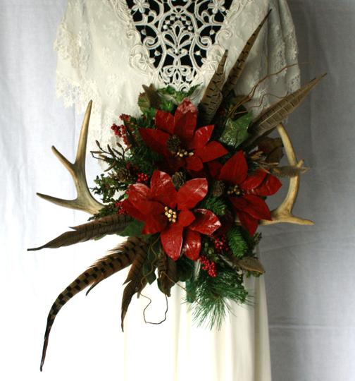 Antler and Poinsettia Woodland Silk Bouquet Ceremony Decoration Image 2