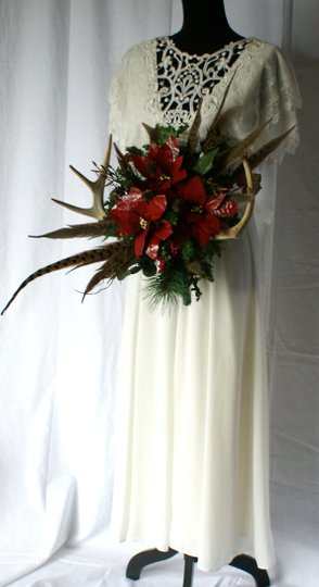 Antler and Poinsettia Woodland Silk Bouquet Ceremony Decoration Image 3