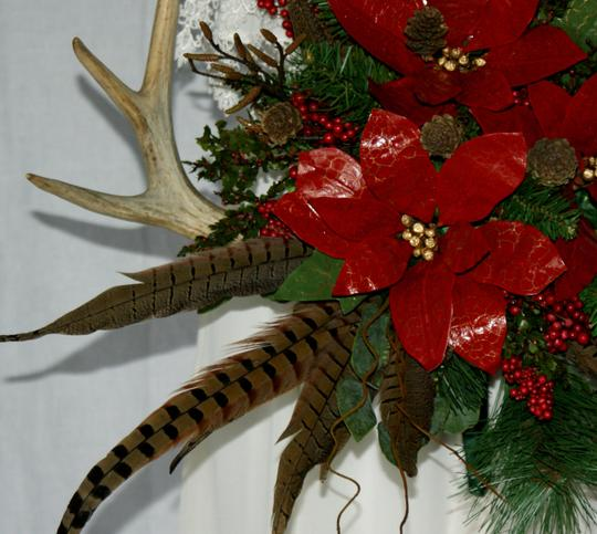 Antler and Poinsettia Woodland Silk Bouquet Ceremony Decoration Image 4