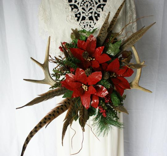 Antler and Poinsettia Woodland Silk Bouquet Ceremony Decoration Image 5