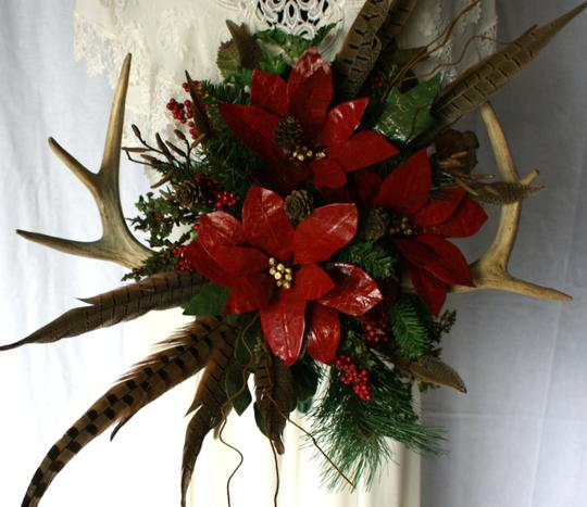 Antler and Poinsettia Woodland Silk Bouquet Ceremony Decoration Image 6