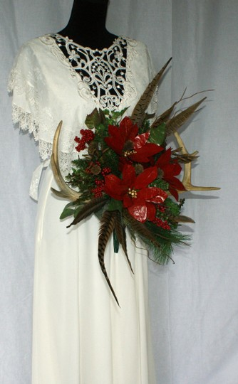 Antler and Poinsettia Woodland Silk Bouquet Ceremony Decoration Image 7