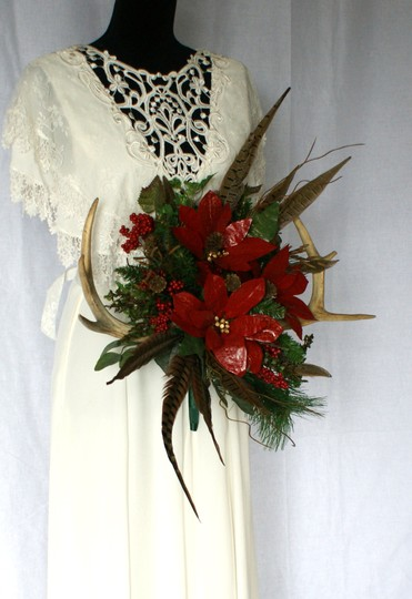 Antler and Poinsettia Woodland Silk Bouquet Ceremony Decoration Image 8