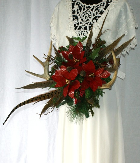 Antler and Poinsettia Woodland Silk Bouquet Ceremony Decoration Image 9