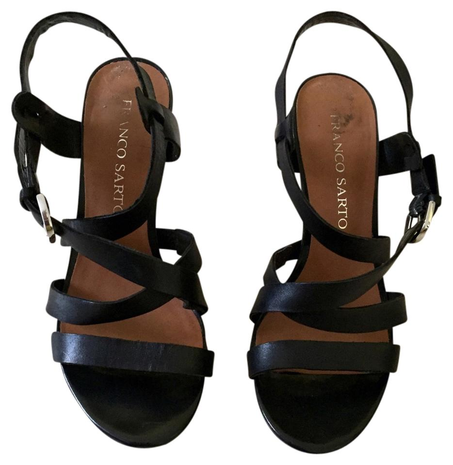 464551a270a Franco Sarto Work Strappy Chunky Heal Night Out High Heel Black Leather  Sandals Image 0 ...